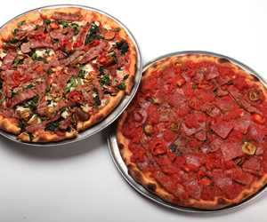 Pizza Rustica (left) and Spicy Hot Pizza (right).